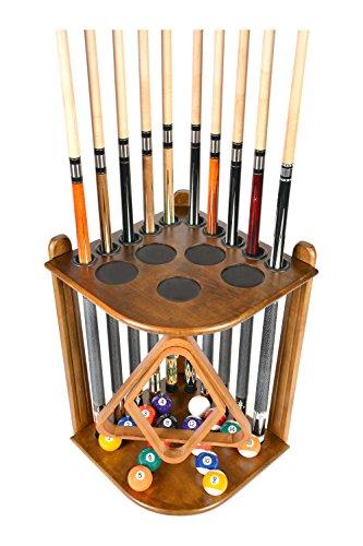 Cue Rack Only - 10 Pool - Billiard Stick & Ball Floor Rack - Holder Choose Mahogany or Oak Finish (Oak)