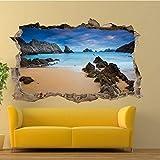 HQSM Pegatinas de pared Roca natural Playa Mar Etiqueta de la pared Mural de...