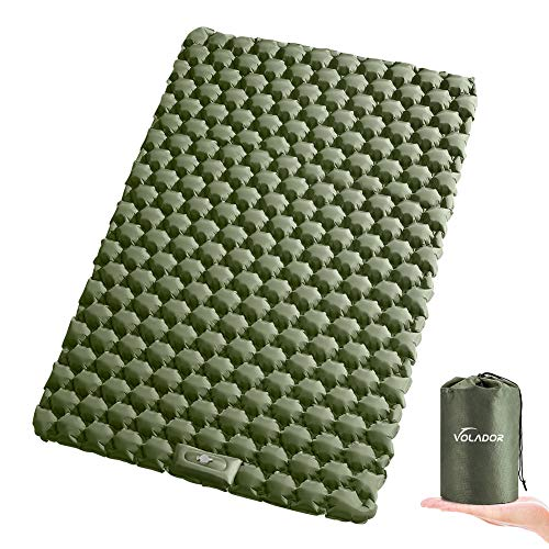 VOLADOR Double Sleeping Pad, Foot Pump Inflating Camping Mat for Two Person, Portable Outdoor...