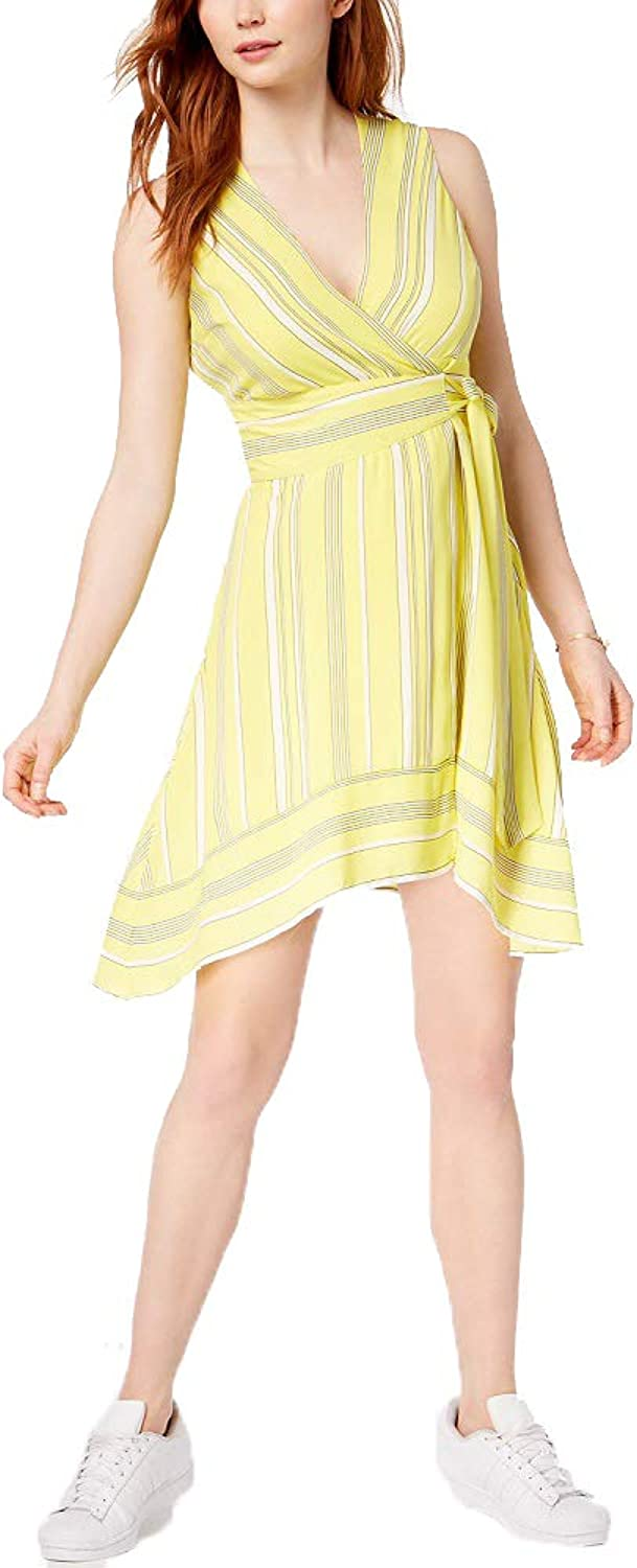 Bar III Striped Wrap Dress