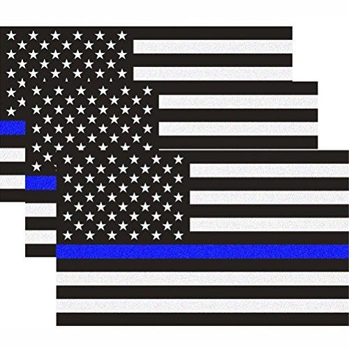 Reflective US Flag Decal Packs with Thin Blue Line for Cars & Trucks, 5 x 3 inch American USA Flag Decal Sticker Honoring Police Law Enforcement Vinyl Window Bumper Tape (3-Pack)