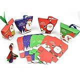 HQdeal Cajas de Regalo Navidad, 24 Piezas Caja de Dulces con Cintas, cajitas de Carton para chuches,Pasteles, Galletas, Dulces, Cupcakes,Navidad, Fiesta DIY