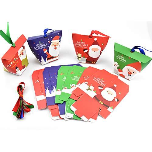 HQdeal Cajas de Regalo Navidad, 24 Piezas Caja de Dulces con Cintas,...