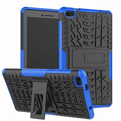 LMFULM® Hülle für Lenovo Tab E7 TB-7104F (7,0 Zoll) PU 3 in 1 Hybrid Heavy Duty Stoßfest Anti-Rutsch-Schutzhülle Weiche Silikon Rückseite für Lenovo Tab E7 Blau