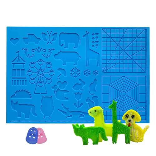 opamoo 3D Stift Vorlage , 3D Druckstift Vorlage 3D Stifte Matte großer mehrfarbiger Silikon faltbares Design Stall Matte mit Tiermuster hilfreich für 3D-Stiftkünstler 3D-Anfänger Kinder Erwachsene