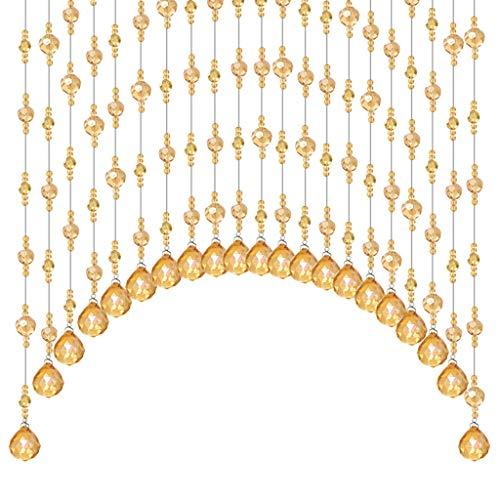 BLSTY Curvado Cristal Cortina de Cuentas, Champagne Transparente Cortina de Hilos Divisor Biombos para Casa Terraza Dormitorio Decoracion Habitación Divisor Cortina de Cuentas-50PCS-Dorado