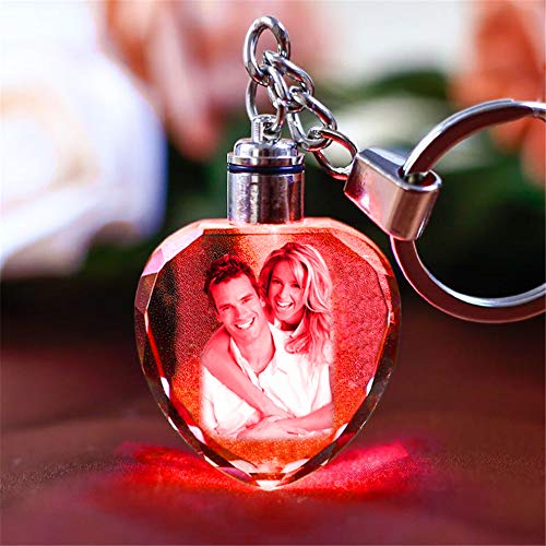 Yandam Personalized Colorful Custom LED Laser Engraved Etched Crystal Glass Keychain Key Rings (Heart 3.53.2cm/1.381.26 in)