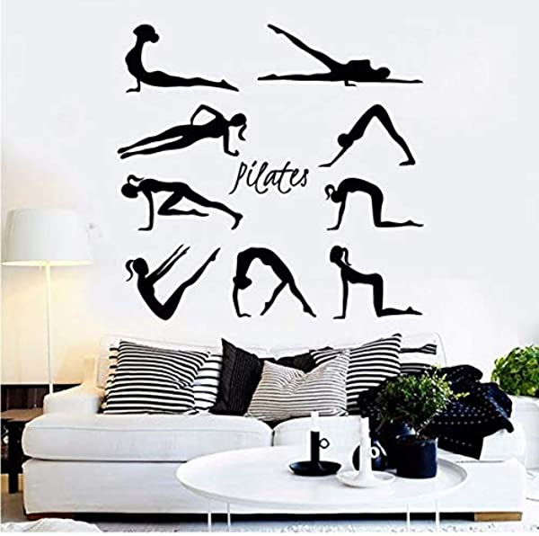 BooDecal Pilates Pose Silhouette Wall Decal Yoga Vinyl Wall Sticker Woman Exercise Meditation Decoration For Yoga Studio Home Bedroom Gym