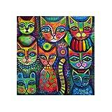 Crystal art kits pintura de diamantes 5D para manualidades,pintura al oleo por numeros diamond painting diseño de gatos abstractos con diamantes de imitación, 30 x 30 cm
