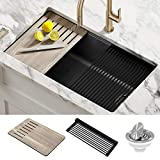 Kraus KGUW2-33MBL Bellucci Workstation Undermount Granite Composite Single Bowl Kitchen Sink with Accessories, 33 Inch, Metallic Black