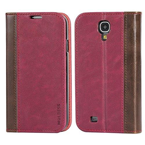 Mulbess BookStyle Custodia per Samsung Galaxy S4, Cover a Libro Samsung Galaxy S4, Custodia in Pelle Samsung Galaxy S4 Cover per Samsung Galaxy S4, Vino Rosso