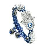 Evil Eye Protection Amulet Magic Eye Hamsa Hand Bracelet with Blue Cord Simulated Hematite Power Beads