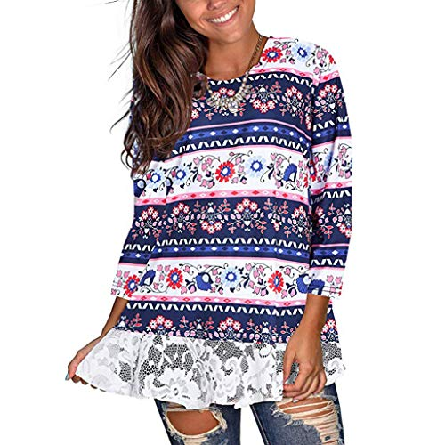 NANTE Top Women's Blouses Boho Floral Print Back Button Tunic 3/4 Sleeve Shirt Tunic Lace Blouse Loose Fit Tee Tops...