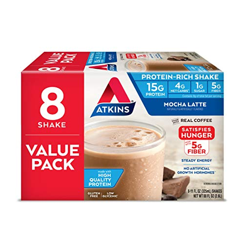 Atkins Mocha Latte Protein-Rich Shake. With High-Quality Protein. Keto-Friendly and Gluten Free. Value Pack. (8 Shakes)