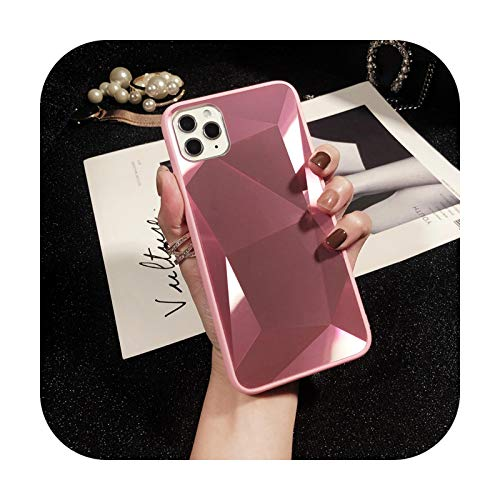 Fashion for iPhone 12 Pro Mini X XS Max XR Mirror TPU Cover 3D Laser Bling Diamond Case for iPhone 11 Pro Max 7 8 Plus 6 6s Plus-Pink-for iPhone 12Pro Max
