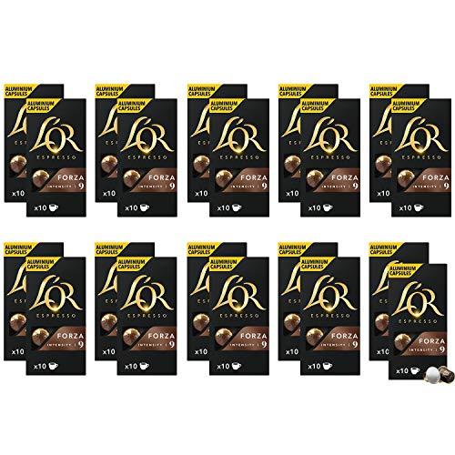 L'Or Espresso Café Forza Intensidad 9 - 200 cápsulas de aluminio compatibles con máquinas Nespresso (R)* (20 Paquetes de 10 cápsulas)