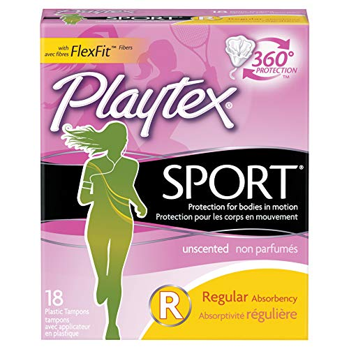Playtex Sport Tampons with Flex-Fit Technology, Super Plus, Unscented - 18 Count (Pack of 2)