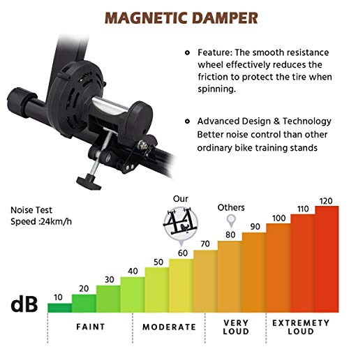 Yaheetech Magnetic Bike Trainer Stand Premium Steel Bike Bicycle Indoor Exercise Bike Stationary Workout Trainer Stand Fits for 26in-28in, 700C Wheels