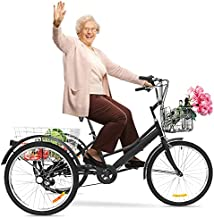 Adult Tricycle Bike 1/7 Speed 3-Wheel for Shopping W/Installation Tools Three-Wheeled Bicycle for Men and Women 500 Pcs in Stock Now, Arrive Quickly 3-12 Days