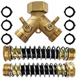 Heavy Duty Brass Garden Hose Splitter 2 Way Bundle - Two Way Garden Hose Connector with 2 Flexible Hose Protector and 6 Rubber Washers - Perfect Hose Spigot Adapter for Home Garden RV or Camper