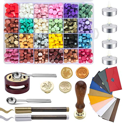 Wax Seal Kit, Wax Sealing Kit with 768 Pieces Sealing Wax Beads, 2 Wax Stamps, 4 Candles, 10 Vintage Envelopes,1 Spoon and 1 Holder, 2 Metal Pens, Ideal for Wedding Invitations, Gift Wrapping