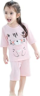Girls Cute Pyjamas Set Kids Short Sleeve Soft Cotton Pjs Pajamas Nightwear Sleepwear Tops T Shirts & Pants Casual Outfit Age 2-8 Years