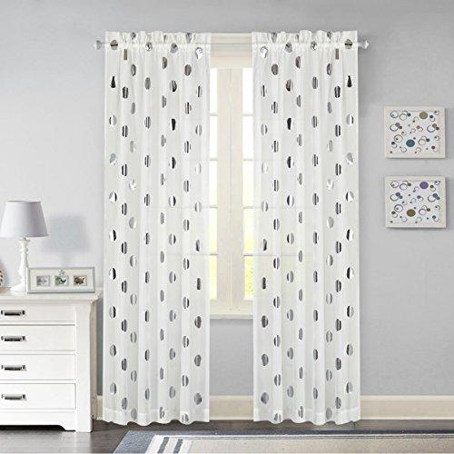 Idea Nuova Metallic Dot Window Curtain Panel, 84-Inch, Silver