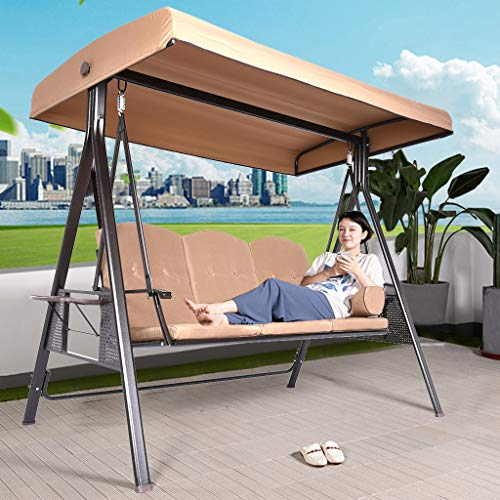 Iuhan 3-Seat Daybed Swing, 3-Person Outdoor Steel Converting Patio Swing Canopy Hammock,Durable Steel Metal Frame, Cushions and Pillow Included, Beige