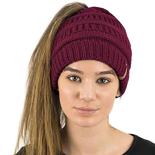 TOSKATOK® Damen Frauen Plain Ponytail Messy BUN GERIPPTE Winter Beanie Hut Cap Hair Hairband