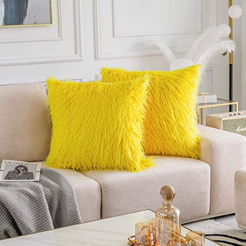 Home Brilliant Yellow Fur Pillow Covers Furry Fuzzy Accent Throw Pillow Covers Decorative for Couch Sofa Bed Fall, Set of 2 (18 x 18 Inch, Lemon Yellow)