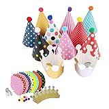 gotyou 11 Pezzi Cappello da Festa di Compleanno,Cappello Compleanno in Carta,Cappello da Festa per Bambini,Puntelli per Foto di Baby Shower per Feste di Compleanno,Decorazioni per Feste di Compleanno