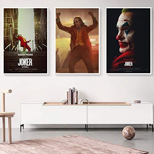 KWzEQ Movie Star Clown Wall Art pósters e Impresiones sobre Lienzo,Pintura sin Marco,60X90cmx3