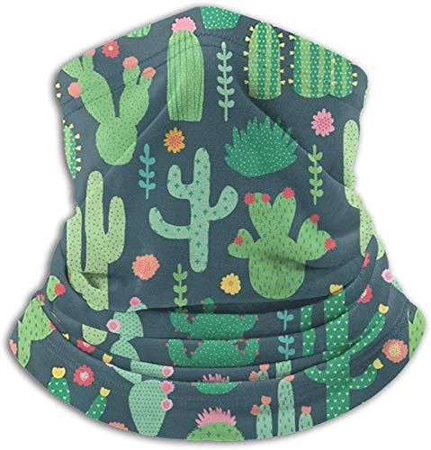 asdew987 Polainas multifunción para cuello, cactus verde, flores rojas, jardín amarillo, sombreros de punto para exteriores, lana de nieve, para mujer