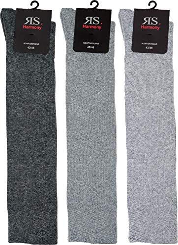 RS. Harmony | Kniestrümpfe für Herren | Extra Qualität Kneehigh | 3 Paar | anthrazit, mittel grau, grau | 43-46