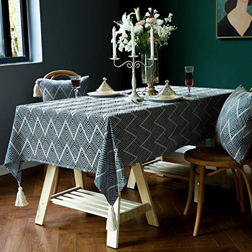 Tischdecke Rechteckige Spleiß Quaste Tischdecke aus Baumwolle und Leinen, Dekorative Staubdichte Tischdecke, Mehrweg, Geeignet für Home Küche Dekoration Esstisch, Couchtisch, Quadratischer Tisch und R