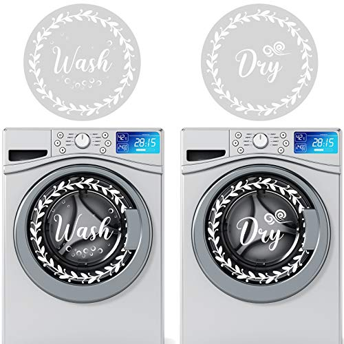 4 Pieces Wash and Dry Decal Sticker Laundry Room PVC Waterproof Clear Sticker Washing Machine Decal Decals Laundry Art Signs Quote Stickers for Decoration Supplies (13 Inches)
