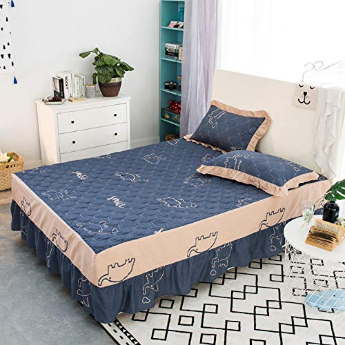 JRDTYS Easy Care Soft Brushed Microfiber Fabric -Shrinkage and Fade ResistantCotton bed skirt with lace protective cover-05_120*200cm