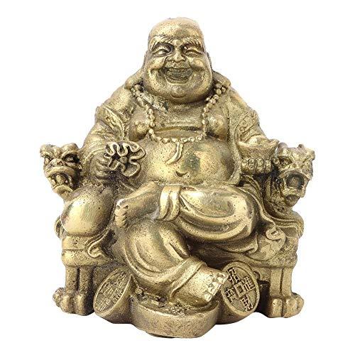 Hztyyier Reine Messing Buddha Statue Happy Glücksbuddha Figur Maitreya Figur Sammler Figur Wohnkultur Geschenk
