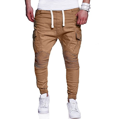 Moda Uomo Casual Vintage Elastic Wash Denim Slim Afflitto Pantaloni Jeans- Uomo Sottile Biker Jeans Zip Denim, Pantaloni Slim Fit Moto Vintage Denim Hip Hop Street Wear (Blu,XL)