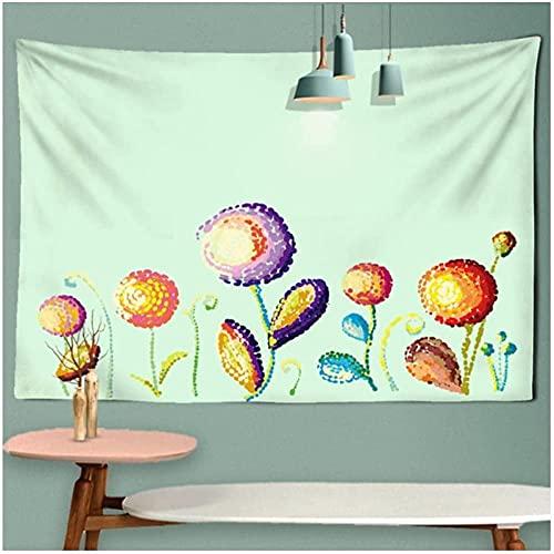 Tapisserie Tapisseriecolorée Psychédélique Pixel Flower Art Tenture murale Paysage Tissu mural Tissu mural avec lumière étoilée 59 05 x 78 74 pouces (150x200 Cm)