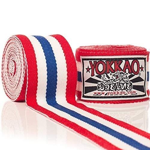 Yokkao - Fasce Elastiche per Le Mani, per Muay Thai, Boxe, Kickboxing, K1, Rosso, Bianco, Blu, Taglia Unica