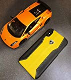 Lamborghini Huracan D1 Leder, Schutzhülle Back Case Gelb, geeignet für Handy iPhone X, iPhone XS