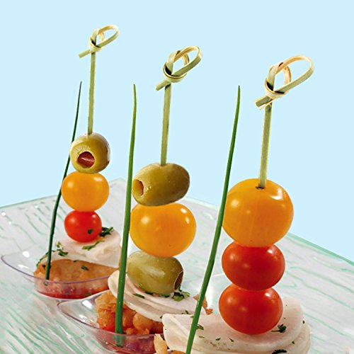 """4.7"""" Bamboo Cocktail Skewer Picks With A Knot Includes 300 Green Wooden Decorative Bamboo Knotted Cocktail Skewers."""