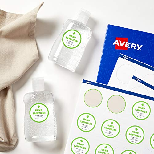 Avery E3613 Self-Adhesive Round Labels, 24 Labels Per A4 Sh