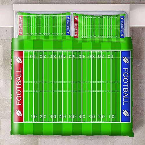 Teqoasiy - Duvet Cover Juego De Cama Matrimonio - Verde Campo De Deportes Rugby 240x220cm Impreso En 3D - Funda De Edredón De Microfibra Suave - Poliéster Funda De Edredón 3 Piezas Con Cierre De Crema