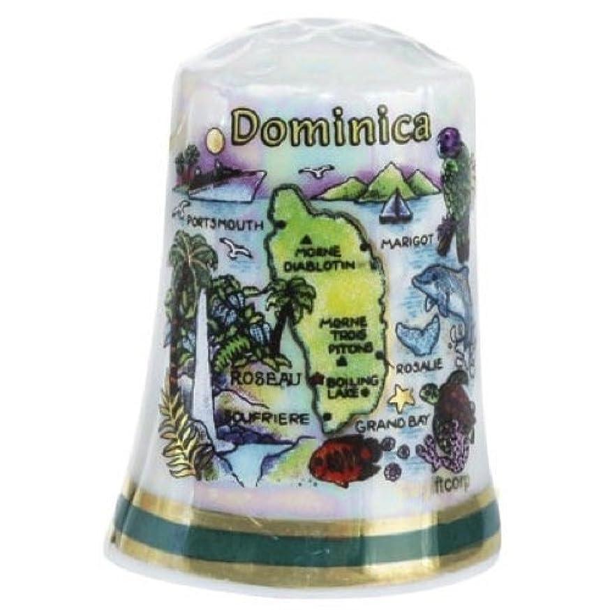 Dominica Caribbean Map Pearl Souvenir Collectible Thimble agc