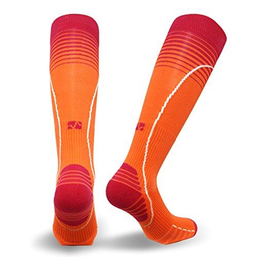 Vitalsox Italian Premium Patented Graduated Compression Silver Drystat Running Socks(1Pair-Compression), Orange, Small