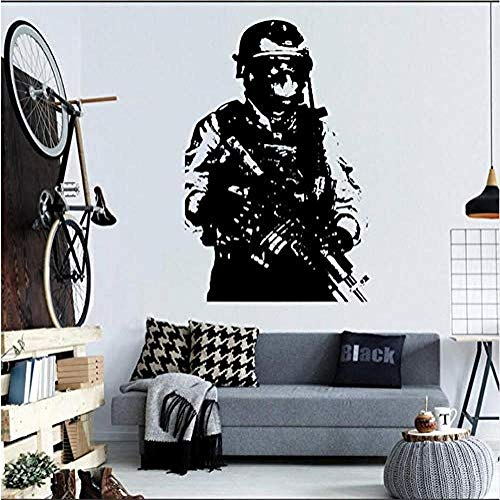 Sticker Military Soldier Sniper Mural de pared Army Man With Gun Sweat Cool Wall StickersFashion Style Art Decor Wall Decal Poster 57 * 86 cm
