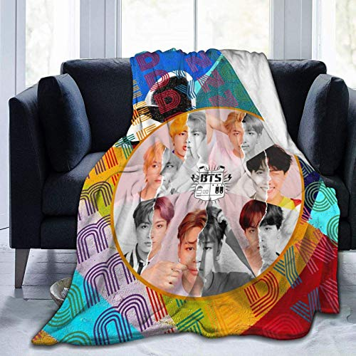 BTS Blankets Kids Throw Blanket Super Soft Fuzzy Fleece Throws for Chairs, Sofas, Beds, Travel, Outdoor in All Seasons