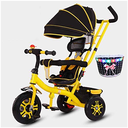 Hejok Tricycle pour Enfants De 3 à 5 Ans, BéBé Tricycle Bambin Les Enfants Montent sur VéLo Trike à PéDale 1-3-5-2-6 Ans, Rose, Yellow